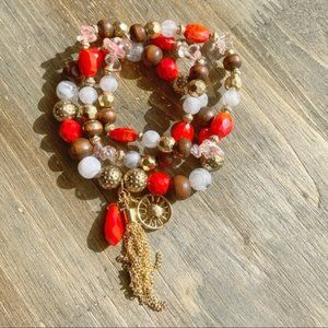 GOLD CORAL QUARTZ WOOD STACK ABLE BRACELET SET